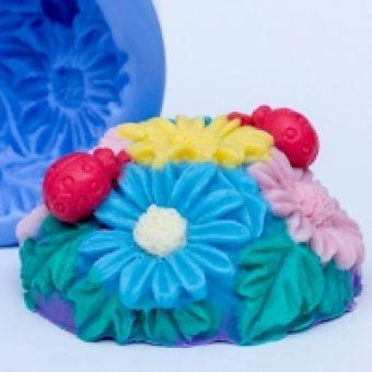 Цветочная полянка 2 3D  - силиконовая форма