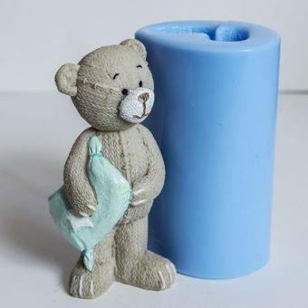 Мишка с подушкой 3D - силиконовая форма