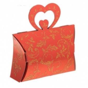 Сердце красное, коробка сборная, 12х12х4см
