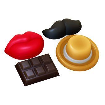 Декор - Усы, Губы, Шоколадка (pc) - форма пластиковая