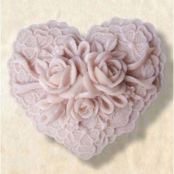 Сердце 2D цветочный ажур - силиконовая форма