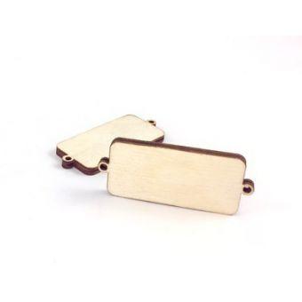 Деревянная бирка для упаковки прямоугольная простая, 2 шт.