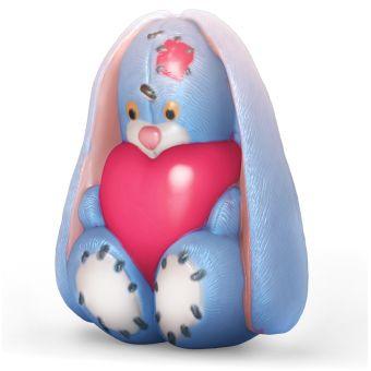 """Пластиковая форма для мыла """"Зайка сидит с сердечком (pc)"""""""