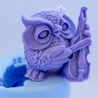 Сова со скрипкой 3D - силиконовая форма