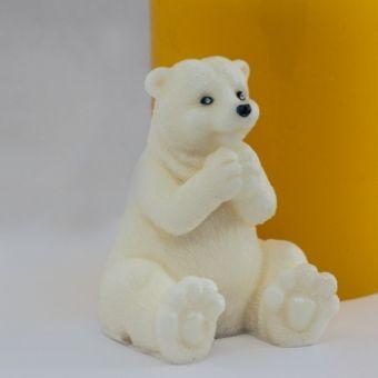 Белый мишка 3D - силиконовая форма.