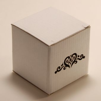 Кубик - Орнамент с сердцем, белый/бурый арт. 0839