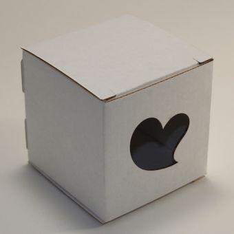 Кубик  - Сердце ассиметричное, белый/бурый арт. 0836