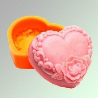 Цветочное сердце 2D - силиконовая форма