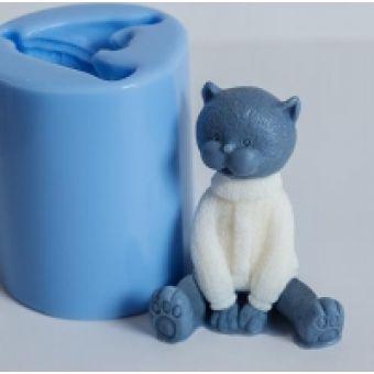 Кот в свитере 3D, форма силиконовая