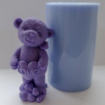 Мишка LOVE 3D - силиконовая форма