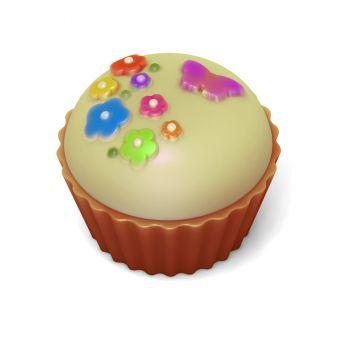 Кейк верхушка (Цветочки с бабочкой) (pc) - пластиковая форма