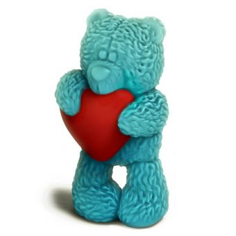 """Пластиковая форма 3D """"Медвежонок стоит с сердечком"""" (2 половинки) (pc)"""