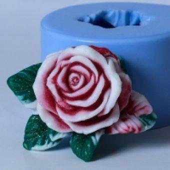 Роза с листочками - силиконовая форма