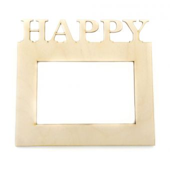 Деревянная заготовка для декупажа - Рамка для фото HAPPY 10 х 15 см