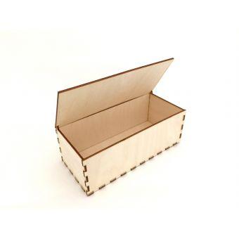 Деревянная заготовка для декупажа - Шкатулка с откидной крышкой, прямоугольная