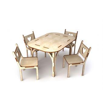 Деревянная заготовка для декупажа - Стол и 4 стула