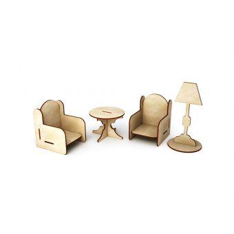 Деревянная заготовка для декупажа - Гостиная (два кресла, стол и торшер)